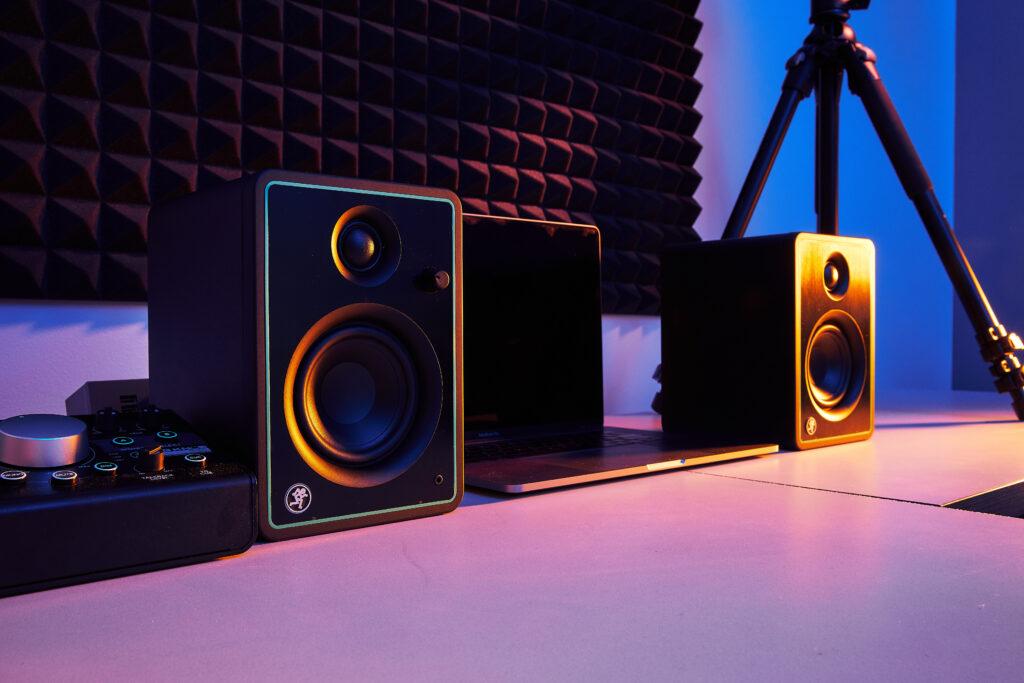 Mackie CR-X Series studio monitors sit on desk in recording studio